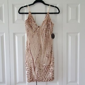 Gold sequin nude mesh dress hot Miami styles